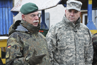 "Lt. Gen. Frederick ""Ben"" Hodges, U.S. Army Europe commander, participates in a group interview with the leaders of NATO allied forces during his visit to the Hohenfels Training Area during Allied Spirit I in Hohenfels, Germany, Jan. 23, 2015"