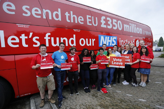 Vote Leave Bus pledging £350m a week more for the NHS