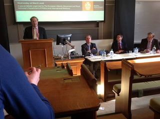 Nick Hopkinson, Chair of the Lib Dem European Group, at an EU Referendum debate at Royal Holloway, University of London