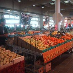 Fruit and vegetables on sale at a covered market in France.
