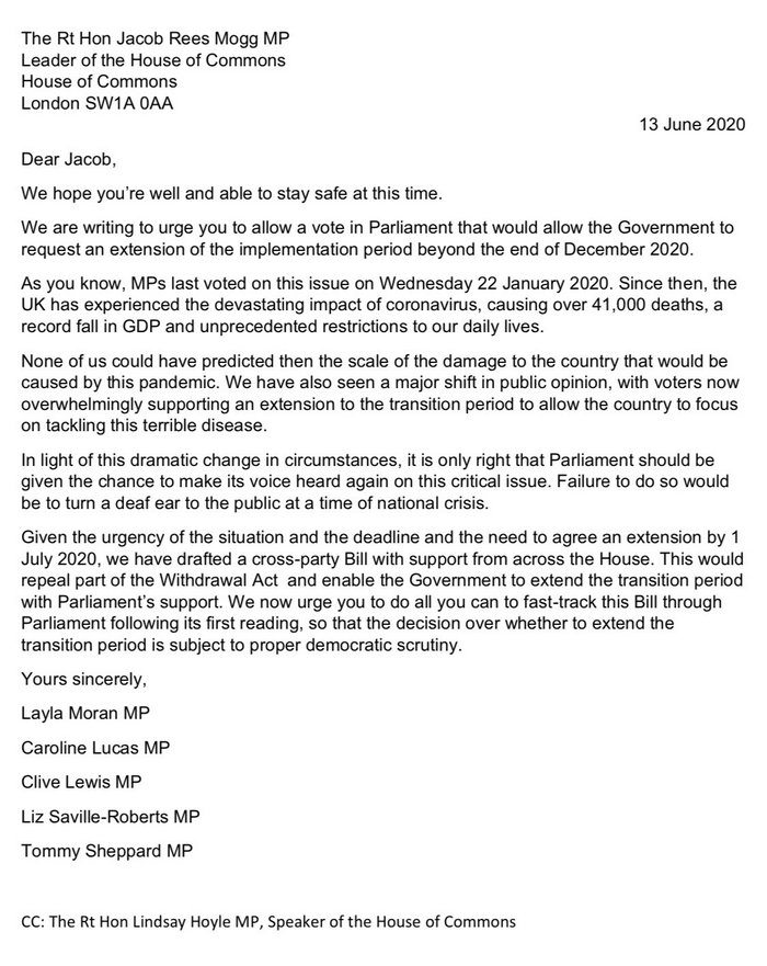 Scanned letter Layla Moran to Commons Leader re extension vote